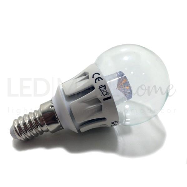 Lampadina bulbo G45 in vetro 5w LED attacco E14-400 lumen-colore luce bianco caldo