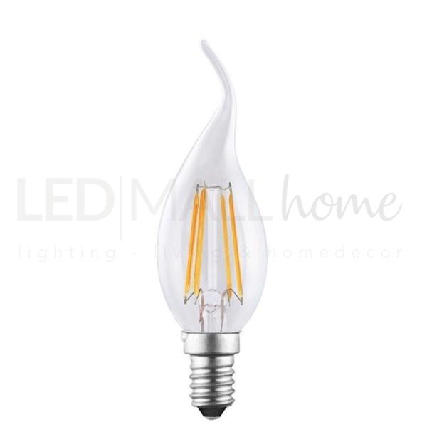lampadina Candela Twist soffio di vento led filamento 4 watt con vetro liscio attacco E14, 340 lumen luce bianco caldo 2200K