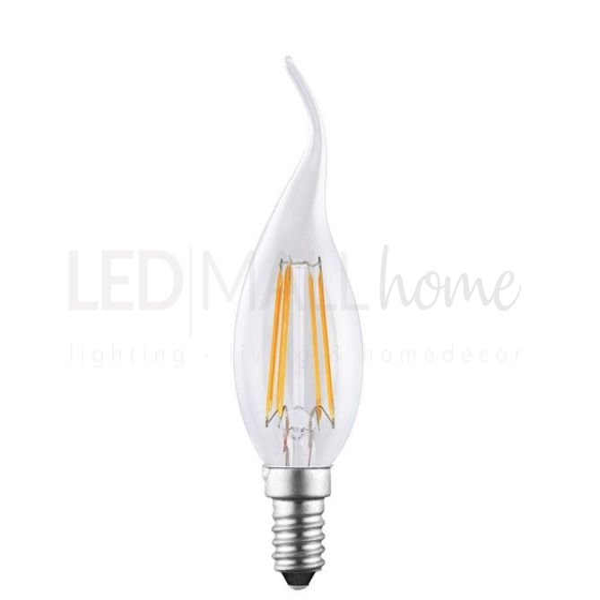 Lampada soffio di vento twist Led 4W E14 vetro liscio trasparente luce calda oliva candela bulbo sfera pallina mini globo