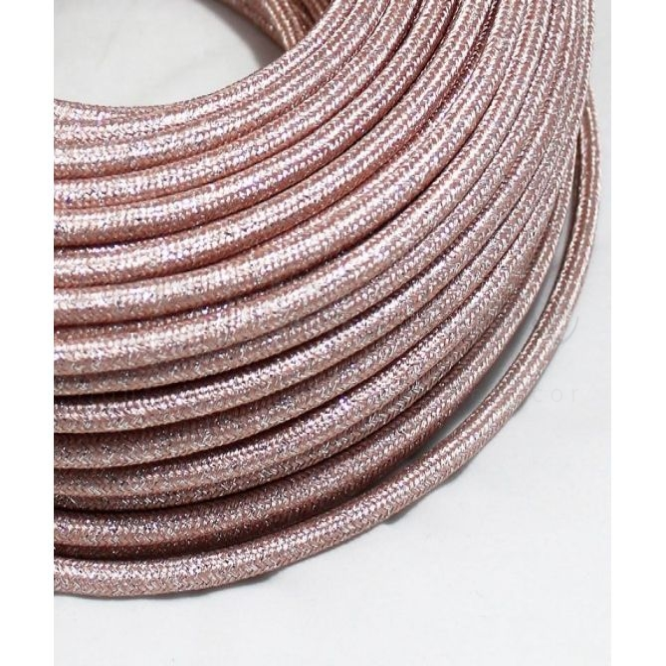 Cavo elettrico tondo  tessuto Lamé Rosa