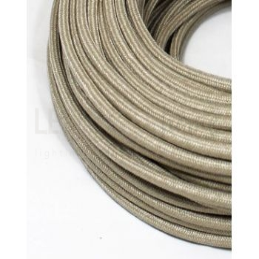 Cavo elettrico tondo tessuto effetto Lamè colore Sabbia 6,2 mm 2x0,75