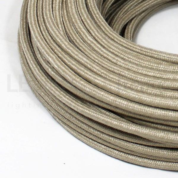 Cavo elettrico tondo  tessuto Lamé Sabbia