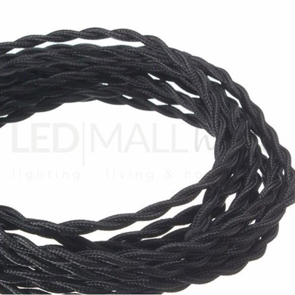 Cavo elettrico tondo tessuto effetto intrecciato nero 6,2 mm 2x0,75