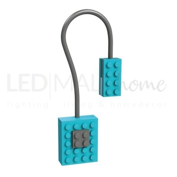 LAMPADA DA LETTURA LED A FORMA DI MATTONCINO LEGO - BLOCK LIGHT COLORE AZZURRO -  X-RAY