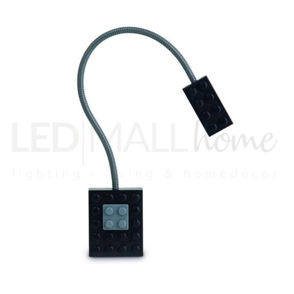 LAMPADA DA LETTURA LED A FORMA DI MATTONCINO LEGO - BLOCK LIGHT COLORE NERA