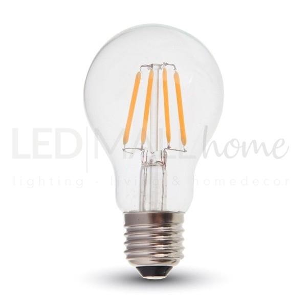 Lampada bulbo goccia led filamento A60  4W attacco E27  bianco caldo vetro trasparente