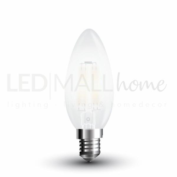 Lampada Oliva Candela Liscia Led Filamento 4W E14 vetro Frost Cover luce calda bulbo sfera pallina mini globo