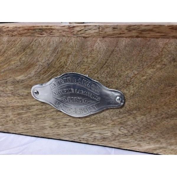 Lampada da tavolo stile vintage in legno 3x E27