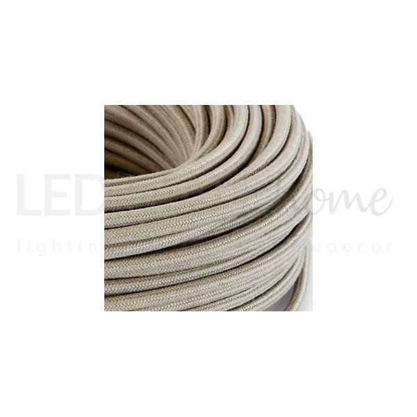 Cavo elettrico tondo tessuto effetto seta colore Sabbia 6,2 mm 2x0,75