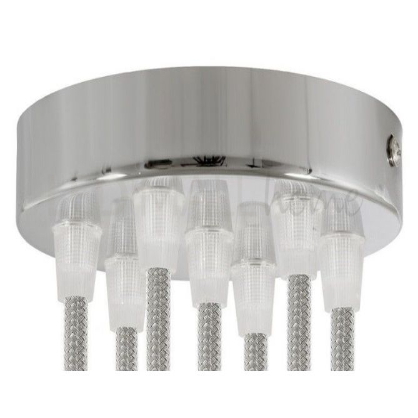 rosone 7 fori cilindro cromato 120 mm, staffa e viti e 7 serracavo TRASPARENTE