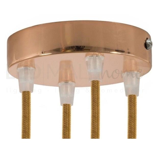 Rosone 4 fori cilindro ramato 120 mm, staffa, viti e 4 serracavo
