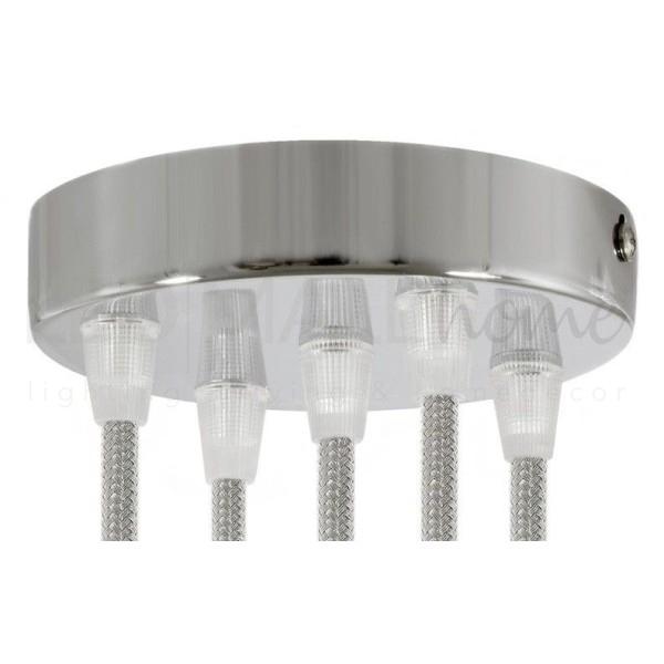 rosone 5 fori cilindro cromato 120 mm, staffa, viti e 5 serracavo