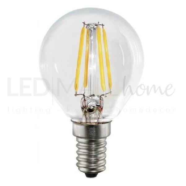 Lampada sfera pallina mini globo G45 bulbo led filamento 4W E14 luce calda 3000°k 400 Lumen vetro trasparente