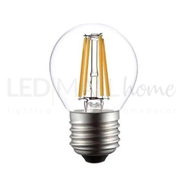 Lampada sfera pallina mini globo G45 bulbo led filamento 4W E27 luce calda 3000°k 400 Lumen vetro trasparente