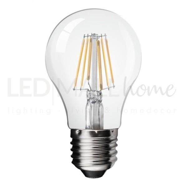Lampadina led a filamento, attacco e27, 6 watt di potenza, corrisponde a circa 60w alogeni,luce bianco caldo.