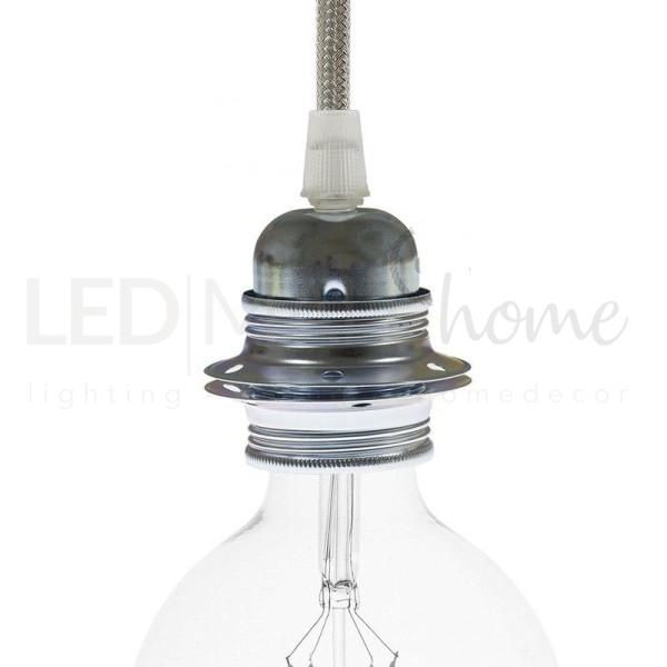 Portalampada in metallo colore argento, attacco lampadina E27, doppia ghiera.