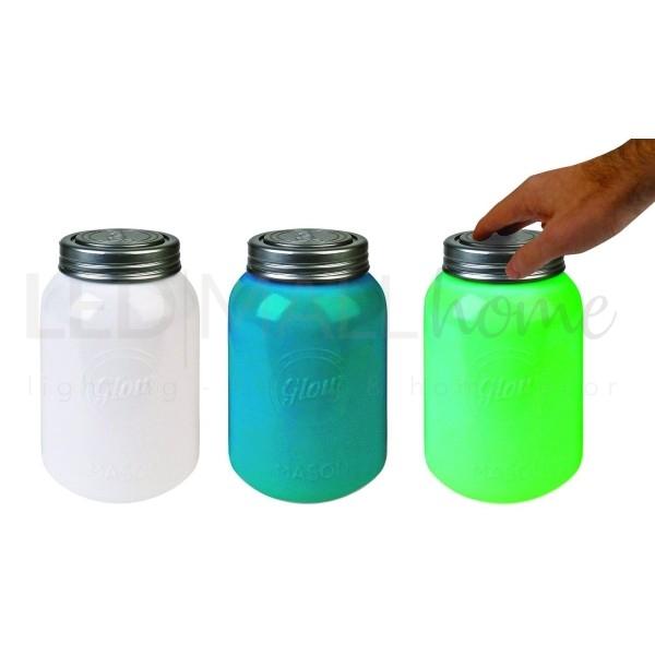 Barattolo Led Lampada da Tavolo 6 colori - luce soft d'atmosfera -.Funzionamento a batterie