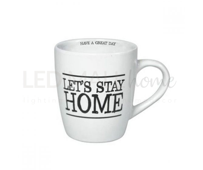MUG TAZZA IN CERAMICA 190 ML COLORE BIANCA - LET'S STAY HOME
