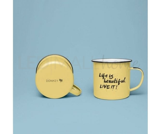 TAZZA IN LATTA COLORE GIALLO E SCRITTA LIFE IS BEAUTIFUL