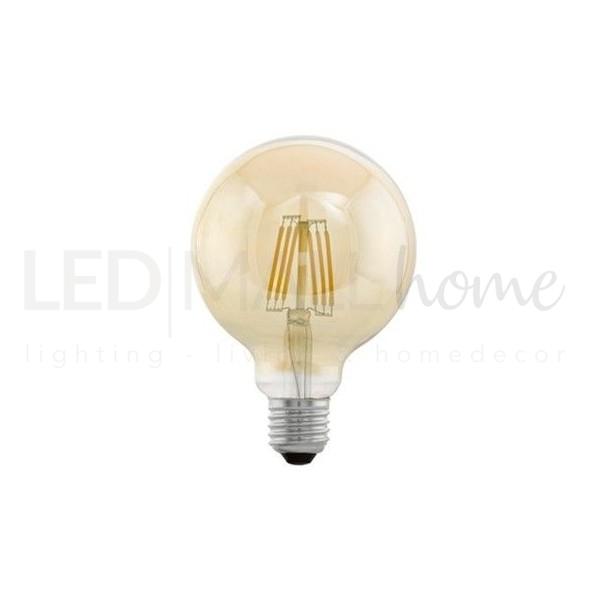 Lampada bulbo globo sfera led filamento vintage G95  4W attacco E27  bianco caldo vetro ambrato liscio