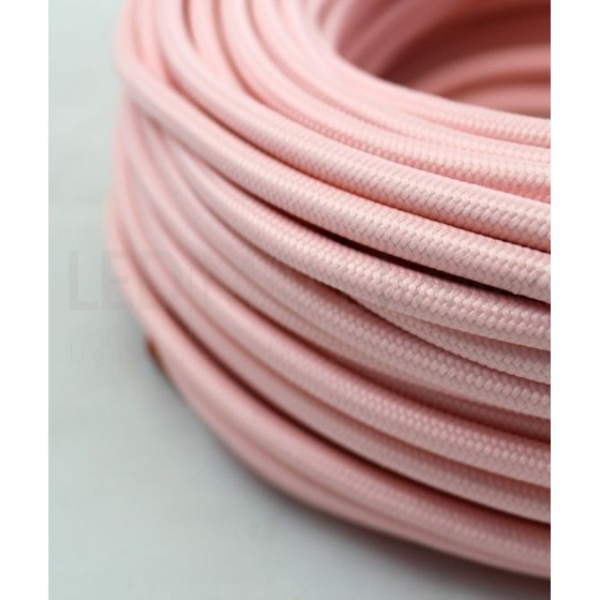 Cavo elettrico tondo tessuto effetto seta colore Rosa 6,2 mm 2x0,75