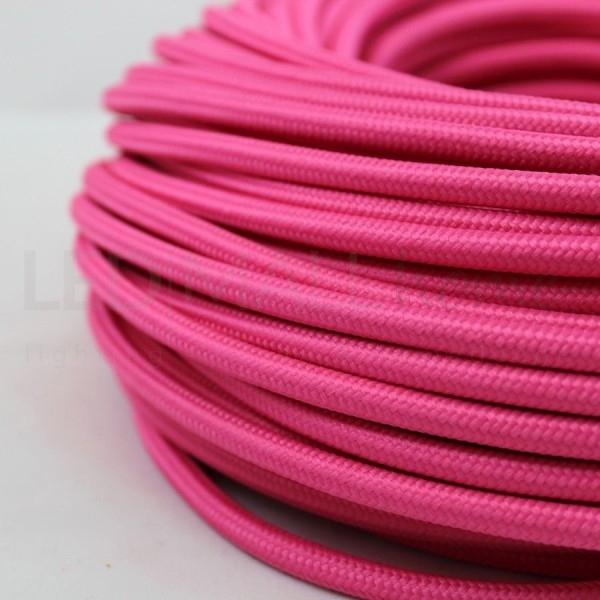 Cavo elettrico tondo tessuto effetto seta colore Fucsia 6,2 mm 2x0,75