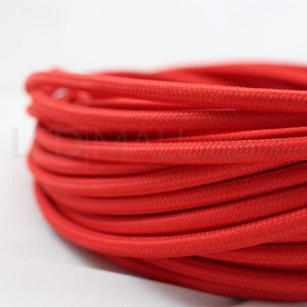 Cavo elettrico tondo tessuto effetto seta colore Rosso 6,2 mm 2x0,75