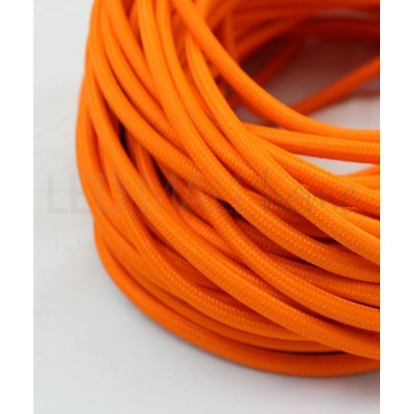 Cavo elettrico tondo tessuto effetto seta colore Arancione 6,2 mm 2x0,75