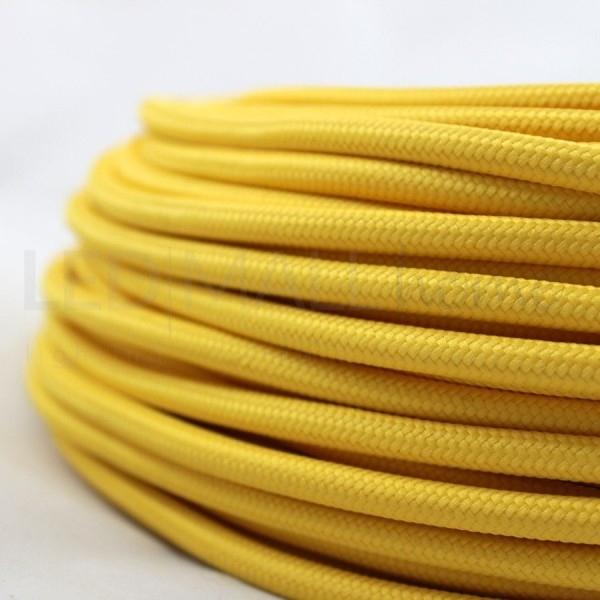 Cavo elettrico tondo tessuto effetto seta colore Giallo 6,2 mm 2x0,75