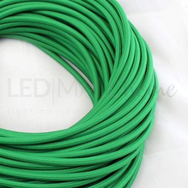 Cavo elettrico tondo tessuto effetto seta colore Verde 6,2 mm 2x0,75