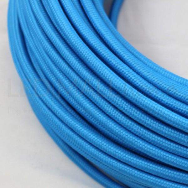 Cavo elettrico tondo tessuto effetto seta colore Turchese 6,2 mm 2x0,75