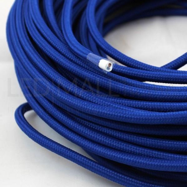 Cavo elettrico tondo tessuto effetto seta colore Blu 6,2 mm 2x0,75
