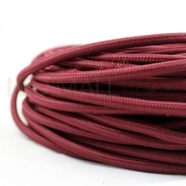 Cavo elettrico tondo tessuto effetto seta colore Bordeaux 6,2 mm 2x0,75