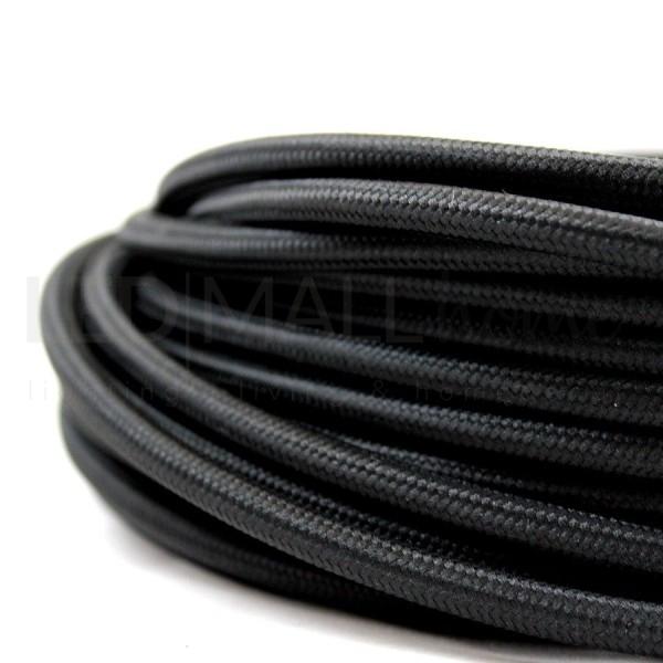 Cavo elettrico tondo tessuto effetto seta colore Nero 6,2 mm 2x0,75