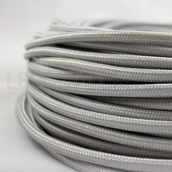 Cavo elettrico tondo tessuto effetto seta colore Argento 6,2 mm 2x0,75