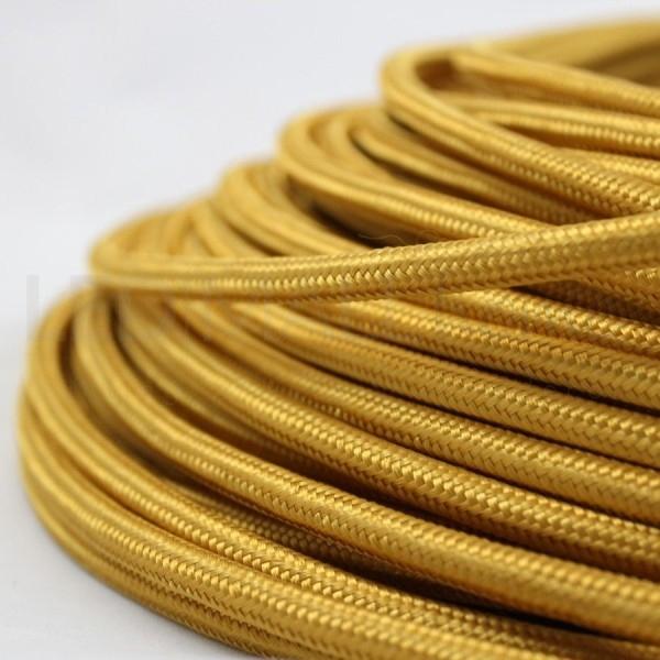 Cavo elettrico tondo tessuto effetto seta colore Oro 6,2 mm 2x0,75