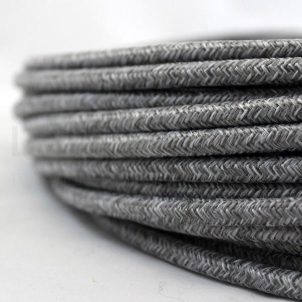 Cavo elettrico tondo tessuto effetto Canvas Grigio 6,2 mm 2x0,75