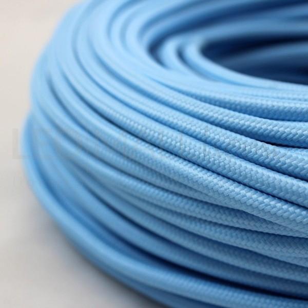 Cavo elettrico tondo tessuto effetto seta azzurro 6,2 mm 2x0,75