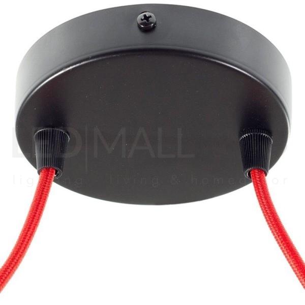 Rosone da lampadario cilindro 2 FORI-Nero