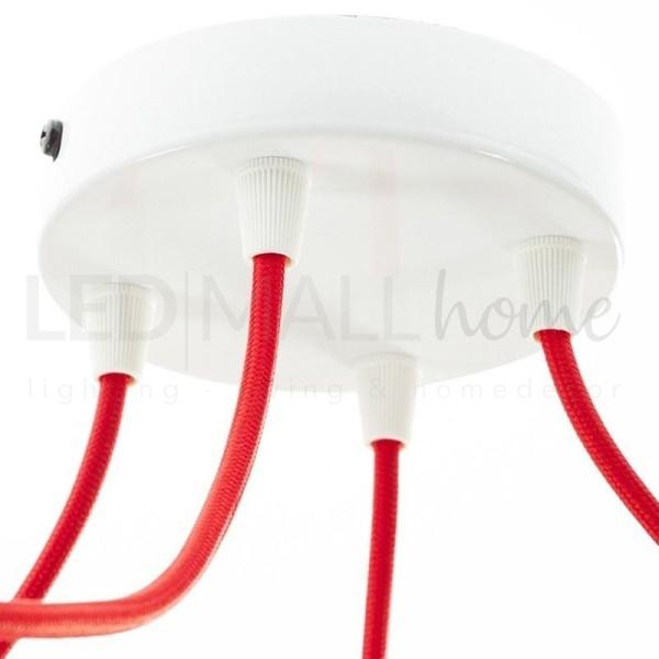 Rosone da lampadario cilindro 4 FORI-Bianco