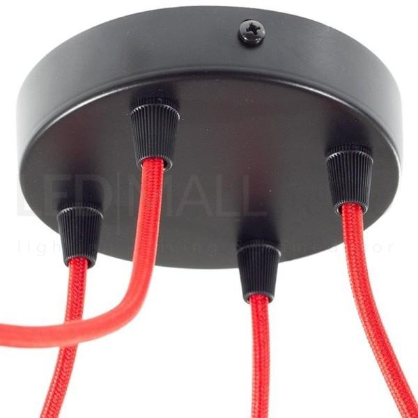 Rosone da lampadario cilindro 4 FORI-Nero