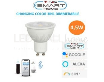 SMART VT-5164 LAMPADINA LED WI-FI GU10 4,5W FARETTO SPOTLIGHT 110° RGB+W 4IN1 DIMMERABILE - SKU 2757