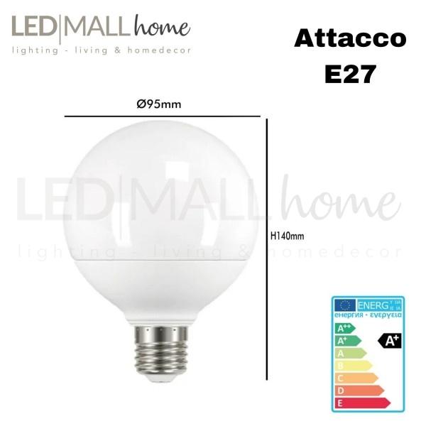 Lampada bulbo globo sfera led  G95  15W attacco E27  bianco freddo 1250lm