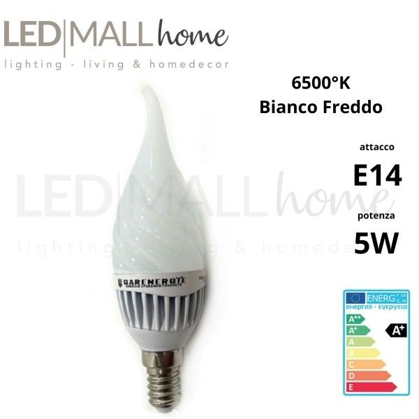 Lampada soffio di vento twist Led 5W E14 vetro ondulato luce fredda oliva candela bulbo sfera pallina mini globo