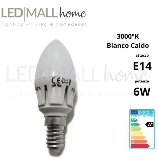 Lampadina Oliva Candela 6w LED 470 Lumen luce bianco caldo bulbo sfera pallina mini globo