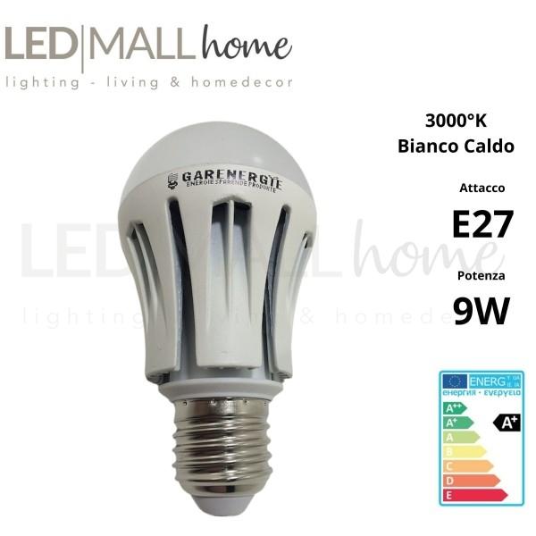 Lampada bulbo goccia led A60  9W attacco E27  bianco caldo 3000°k 700 lumen alluminio
