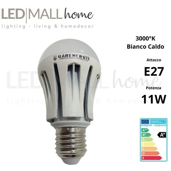 Lampada bulbo goccia led A60 11W attacco E27 bianco caldo 3000°k 960 Lumen con dissipatore in alluminio