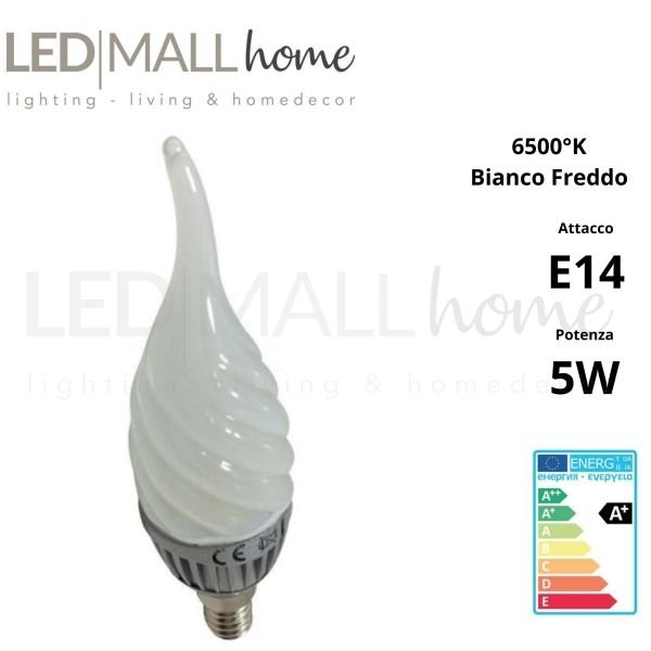 Lampadina Candela Soffio di vento Twist Led 5W attacco E14  400 lumen  Bianco Freddo 6500°k