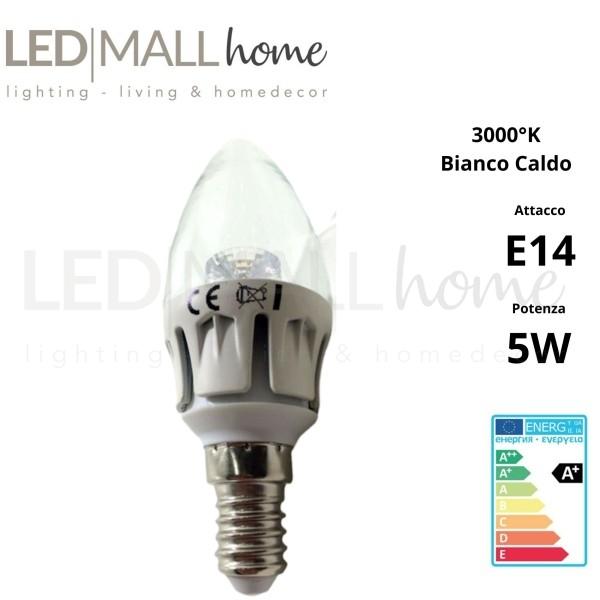 Lampadina Oliva Candela 5w LED attacco E14 400 lumen Bianco Caldo bulbo sfera pallina mini globo
