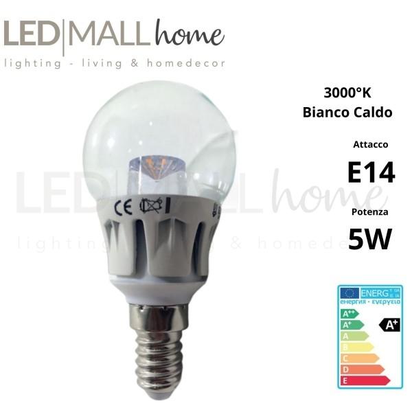 Lampada sfera pallina mini globo G45 bulbo 5W E14 luce calda 3000°k 400 Lumen vetro trasparente